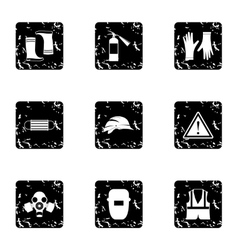 Construction ground icons set grunge style vector image