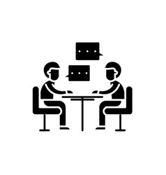 consulting black icon sign on isolated vector image