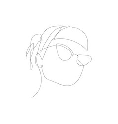 Continuous one line abstract woman with glasses vector