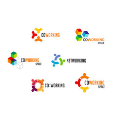 Coworking space networking zone logo and icons vector