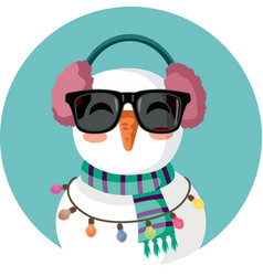 cute snowman christmas character wearing vector image