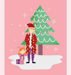 dad and daughter with gifts tree merry christmas vector image