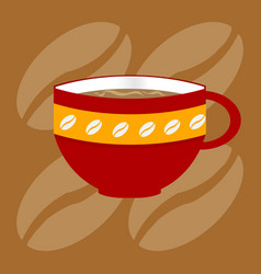 Decorated up of coffee over bronw background vector