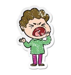 Distressed sticker of a cartoon furious man vector