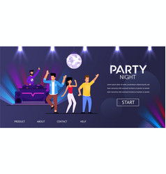 Dj night club party play music people crowd dance vector