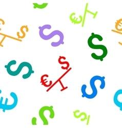 Euro Dollar Swing Flat Seamless Pattern vector image