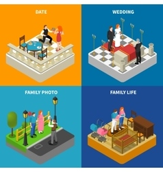 Family 4 Isometric Icons Square Banner vector image