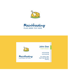 flat chicken meat logo and visiting card template vector image