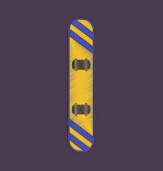 Flat shading style icon snowboard vector