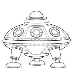 Flying saucer sketch coloring book cartoon vector