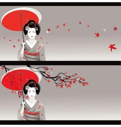 Geisha card vector