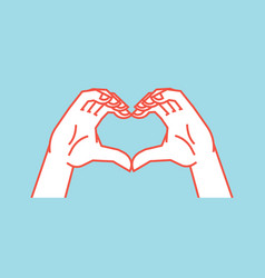 gesture stylized hands in the form of heart icon vector image