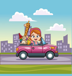Girl driving convertible car with toys vector