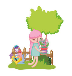 girl lifting houseplant with rooster in the garden vector image