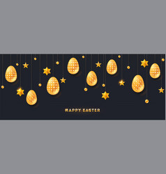 greeting happy easter golden stars and vector image