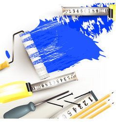 grunge background with repair instruments vector image