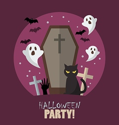 Halloween party flat poster vector