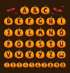Halloween pumpkin font alphabet text symbols vector