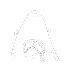 Hand drawn funny crazy contoured shark monochrome vector