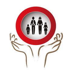 hands protection family members silhouette vector image