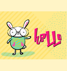 happy easter greeting background with cute easter vector image
