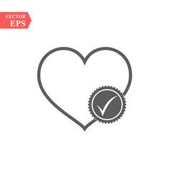 Heart with check mark glyph icon health care vector