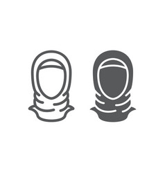 hijab line and glyph icon arab and woman islam vector image