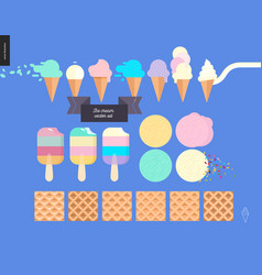 Ice cream scoops in waffle cones set on a blue vector