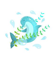 Jumping dolphin splashing water around vector