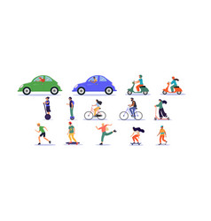 Large set transport and ride icons vector