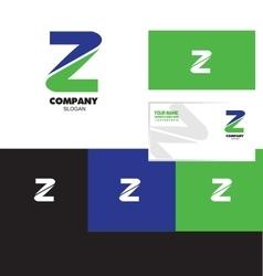 Letter Z logo green blue vector image
