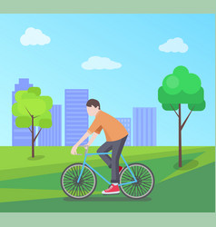 man riding bike on nature vector image