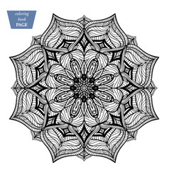 Mandala coloring page vintage decorative vector