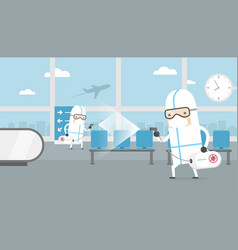 Medical worker cleaning airport terminal vector