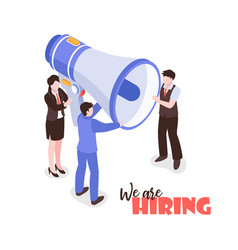 megaphone recruitment isometric background vector image