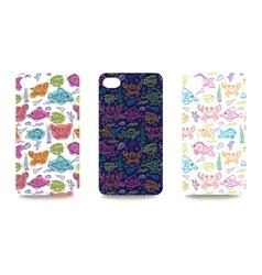 Mobile phone cover back set with sea life pattern vector image