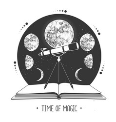 modern magic witchcraft open book with telescope vector image
