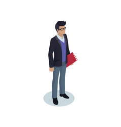 Office worker businessman isolated isometric icon vector