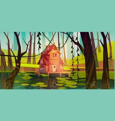 Old stilt house in swamp in forest vector