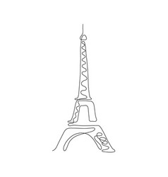one line eiffel tower design silhouette vector image