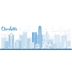 Outline charlotte skyline with blue buildings vector