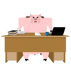 pig boss piglet businessman at desk farm office vector image