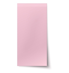Pink rosy vertical sticky note isolated on white vector