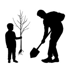 Planting tree with baman holds a spade and vector