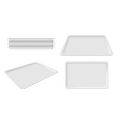 Plastic empty white tray set blank takeout vector