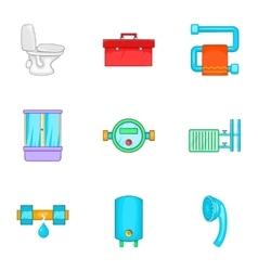 Plumbing icons set cartoon style vector