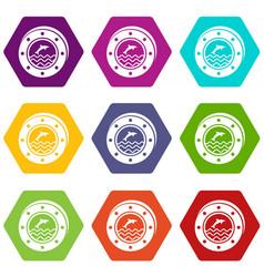 porthole icons set 9 vector image