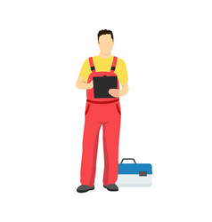 repair service worker in uniform with toolkit box vector image
