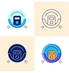 robot vacuum cleaner icon set in flat and line vector image