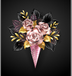 roses in rose gold waffle horn vector image
